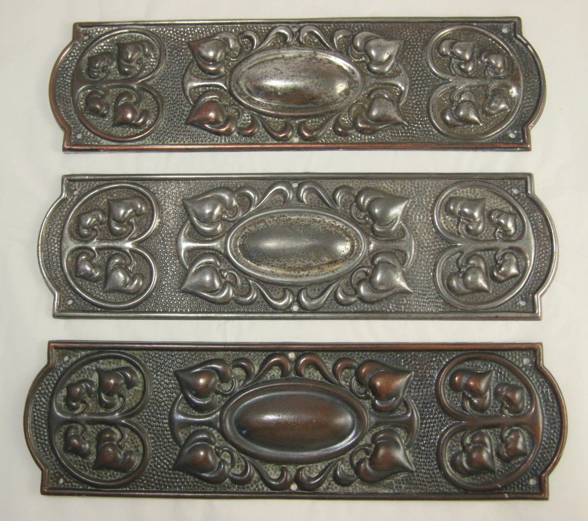 Small Pewter Door Kick Plate: 3 Metal Finger Door Plates Brass / Pewter Look Art Nouveau